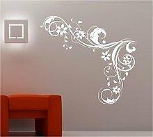 Online Design Schlafzimmer Wandkunst Wirbel Blumen Vinyl Aufkleber Lounge - Silbern