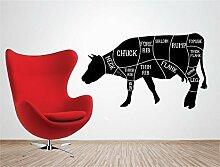 Online Design Wandaufkleber Zitat Vinyl Art Aufkleber Aufkleber Rindfleisch Schnitte Küche Butcher Kochen Fleisch blau