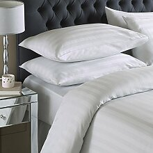 Online Textile, T250 Gewinde Satin Stripe Bettbezug mit Kissenbezug / Bettgarnitur Weiss, Doppelbe