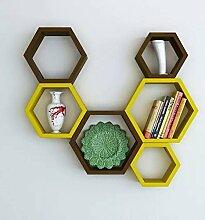 onlineshoppee Fancy Set von 6Sechseckige Form MDF Wandregal dunkelblau gelb & braun