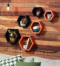 onlineshoppee Fancy Set von 6Sechseckige Form MDF Wandregal Big Größe (10,5x 4x 10.5) Zoll dunkelblau schwarz & orange