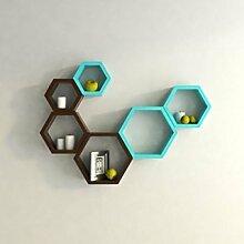 onlineshoppee Fancy Set von 6Sechseckige Form MDF Wandregal Big Größe (10,5x 4x 10.5) Zoll cm blau A0164& Braun