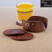 onlineshoppee Holz geschnitzt Tee Untersetzer Set