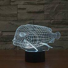 Only 1 piece Animal Fish 3d Visual tion Nightlight