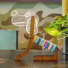OOFAY BXD Nachtlichter Für Kinder, 3D Illusion LED Touch Schreibtisch Tisch Nachtlampen (Hund)