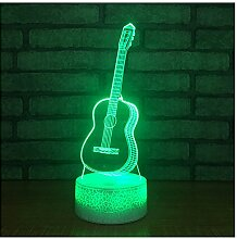 OOFAY LIGHT 3D LED Nachtlichter Für Kinder, Touch/Fernbedienung Control, Violine Form 7 Farben Auto Touch-Schalter Wechseln Schreibtisch Dekoration Lampen Acryl Flat ABS Base USB Kabel,S