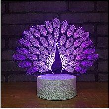 OOFAY LIGHT 3D LED Nachtlichter Für Kinder, Touch/Fernbedienung Control, Pfau Form 7 Farben Automatisch Wechselnde Touch Schalter Schreibtisch Dekoration Lampen Acryl Flat ABS Base USB Kabel,M