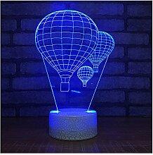 OOFAY LIGHT 3D LED Nachtlichter Für Kinder, Touch/Fernbedienung Control, Heißluftballon Form 7 Farben Autowechsel Touch Switch Schreibtisch Dekoration Lampen Acryl Flat ABS Base USB Kabel,S