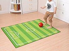 OOFIT Teppich Kinderzimmer Fußball Spielteppich Kinderteppich Fußballplatz Grün, 130CM*180CM