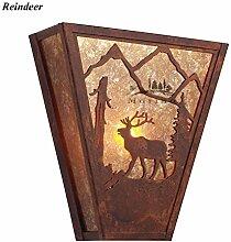 OOFWY E14 Trapez Wandleuchte Lampe Retro-Industrie-Stil für Hotelbar Wohnzimmer Schlafzimmer Korridor Dekoration Glimmer Schirm Eisen Halterung Licht , F