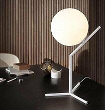 OOFWY LED E27 Nachtlichter Morden einfach Stil für Schlafzimmer Wohnzimmer Esszimmer Dekoration Glas Schmiedeeisen Ball Tischleuchte , white