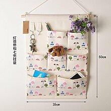 OOFYHOME Aufbewahrungstasche Leinen / Baumwolle Stoff Wand Tür Schrank hängen Aufbewahrungstasche Home Organizer , R