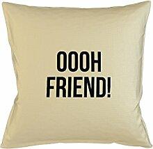 Oooh Friend Welcome Friendly Happy Kissenbezug Haus Sofa Bett Dekor Beige