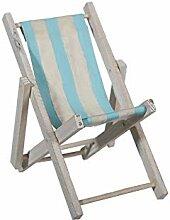OOTB Holz-Liegestuhl mit Stoffbezug, ca. 23 x 17 cm
