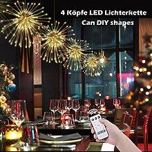 OOTOO 4 Köpfe LED Lichterkette Hängend Feuerwerk