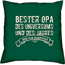Opa Geburtstag Sitz-Polster-Deko-Stuhl-Kissen mt Füllung und Gratis Urkunde Bester Opa des Universums Geschenk zum Jubeltag Weihnachten Farbe:dunkelgrün