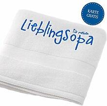 """Opa Geschenkidee: Opa Handtuch bestickt - Badetuch Handtuch weiß 50x90 - Handtuch mit Namen Lieblingsopa - Handtuch Baumwolle Duschtuch - Handtuch bestickt mit """"Für meinen Lieblingsopa"""" von MyOma"""