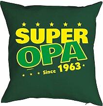 Opa Sprüche-Kissen zum 55 Geburtstag - Geschenk-Idee Dekokissen Jahrgang 1963 : Super Opa since 1963 -- Geburtstag 55 Kissen Farbe: dunkelgrün