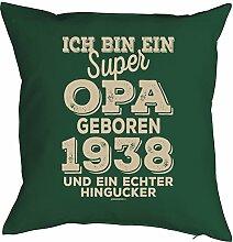 Opa Sprüche-Kissen zum 80 Geburtstag - Geschenk-Idee Dekokissen Jahrgang 1938 : ...super Opa geboren 1938 -- Geburtstag 80 Kissenbezug ohne Füllung - Farbe: dunkelgrün
