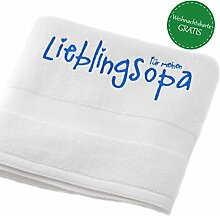"Opa Weihnachten Geschenkidee *Opa Handtuch bestickt* Badetuch Handtuch weiß 50x90 - Handtuch mit Namen Lieblingsopa - Handtuch Baumwolle Duschtuch - Handtuch bestickt """"Für meinen Lieblingsopa"""" MyOma"