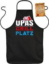 OPAs GRILL Platz - Fun Schürze - mit Grillmeister-Urkunde