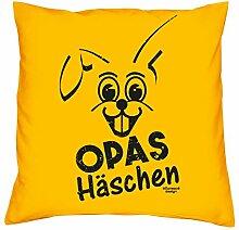 Opas Häschen :: Dekokissen inkl. Füllung : Kissen Sofakissen Geschenk als Osterdeko - Geschenkidee zu Ostern : Ostergeschenk Farbe:gelb