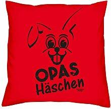 Opas Häschen :: Dekokissen inkl. Füllung : Kissen Sofakissen Geschenk als Osterdeko - Geschenkidee zu Ostern : Ostergeschenk Farbe:ro