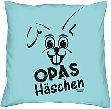 Opas Häschen :: Dekokissen inkl. Füllung : Kissen Sofakissen Geschenk als Osterdeko - Geschenkidee zu Ostern : Ostergeschenk Farbe:hellblau