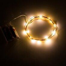 opfashion + 10FT 30Mini Micro LEDs Multi Farben availalbe Starry Tauchpumpe Lichterkette kupfer LED Lichtern Saiten AA Batterie betrieben Ultra Thin String Draht Bedient, plastik, warmweiß, 2 Sets Warm White