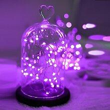 opfashion + 10FT 30Mini Micro LEDs Multi Farben availalbe Starry Tauchpumpe Lichterkette kupfer LED Lichtern Saiten AA Batterie betrieben Ultra Thin String Draht Bedient, plastik, violett, 2 Sets Purple