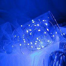 opfashion + 10FT 30Mini Micro LEDs Multi Farben availalbe Starry Tauchpumpe Lichterkette kupfer LED Lichtern Saiten AA Batterie betrieben Ultra Thin String Draht Bedient, plastik, blau, 2 Sets Blue