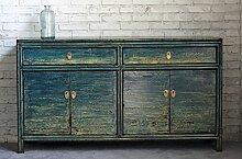 opium outlet chinesische Kommode Sideboard Schrank Anrichte Kolonialstil blau Shabby Chic Stil (midblue)