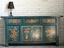 OPIUM OUTLET Chinesisches Sideboard blau Kommode