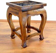 Opiumtisch mit Schnitzerei 36x36cm (50cm hoch),