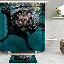 OPQRSTQ-O Stoff Duschvorhang und Matten