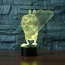 Optische Täuschung 3D Eichhörnchen Nacht Licht 7