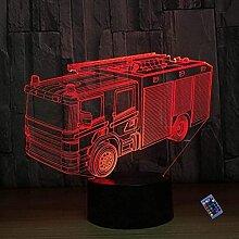 Optische Täuschung 3D Feuerwehr Auto Nacht Licht