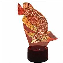Optische Täuschung 3D Fisch Nacht Licht 7 Farben