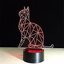 Optische Täuschung 3D Katze Nacht Licht 7 Farben
