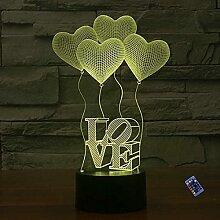 Optische Täuschung 3D Liebe Nacht Licht 16 Farben
