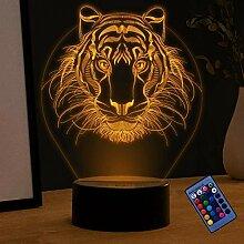Optische Täuschung 3D Löwe Nacht Licht 16 Farben