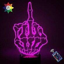 Optische Täuschung 3D Mittelfinger Nachtlicht 16