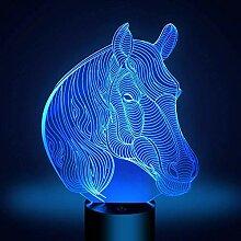 Optische Täuschung 3D Pferd Nacht Licht 7 Farben