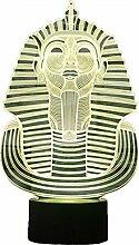 Optische Täuschung 3D Pharao Nacht Licht 7 Farben