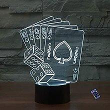 Optische Täuschung 3D Poker Nacht Licht 16 Farben