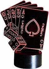 Optische Täuschung 3D Poker Nacht Licht 7 Farben