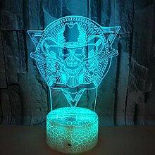 Optische Täuschung 3D Schädel Nacht Licht 7