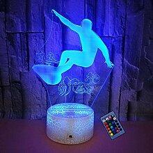 Optische Täuschung 3D Surfen Nacht Licht 16