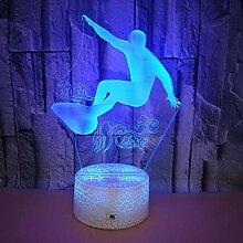 Optische Täuschung 3D Surfen Nacht Licht 7 Farben