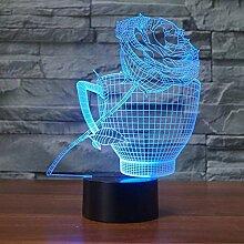 Optische Täuschung 3D Tasse Rose Nacht Licht 7